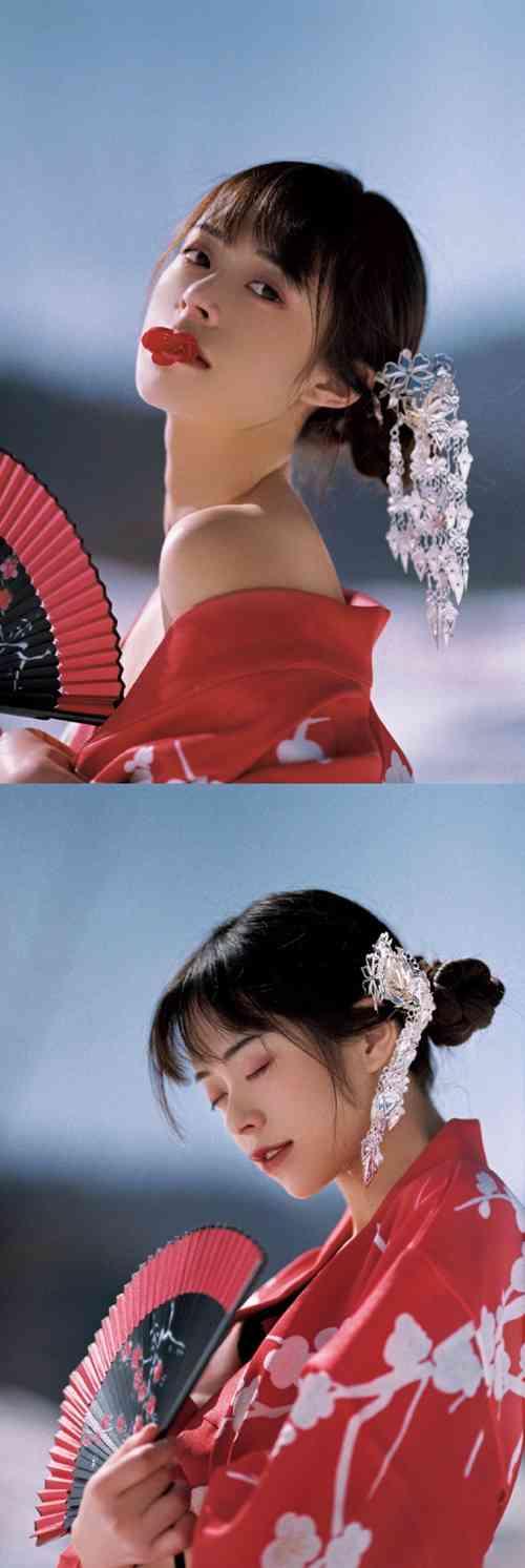 日本和服美女明艳动人雪地图片_WWW.66152.COM