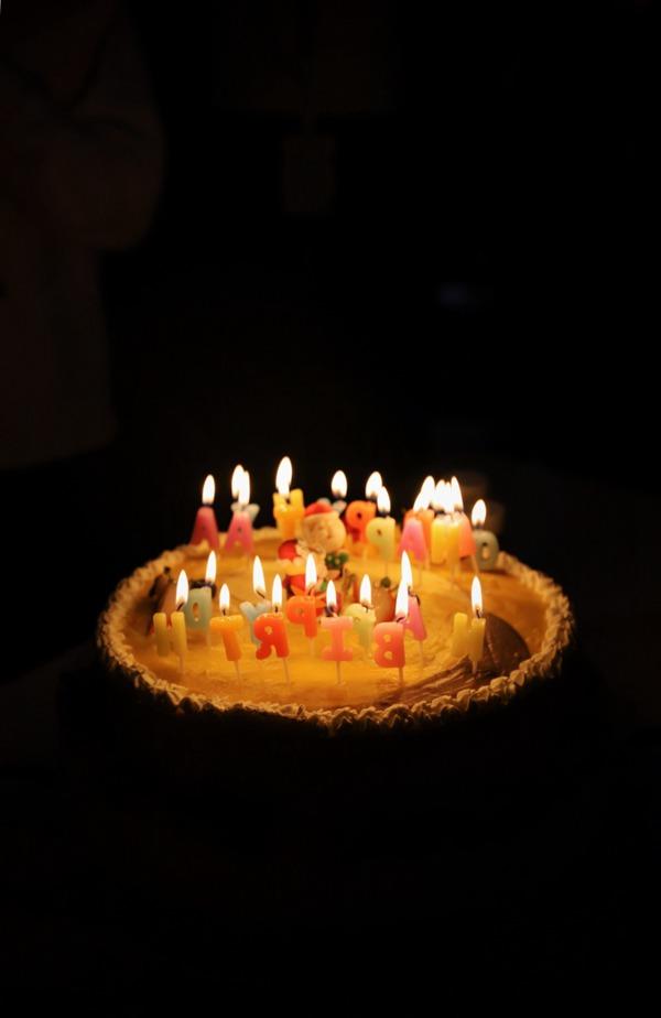 插着蜡烛的生日蛋糕图片_WWW.66152.COM