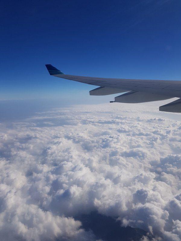 高空中的飞机机翼图片_WWW.66152.COM