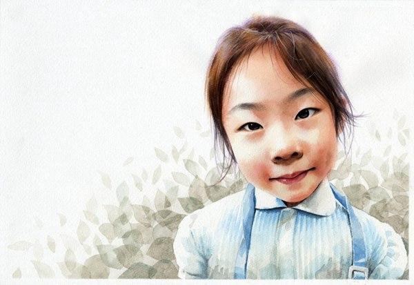 小女孩水彩肖像画图片_WWW.66152.COM
