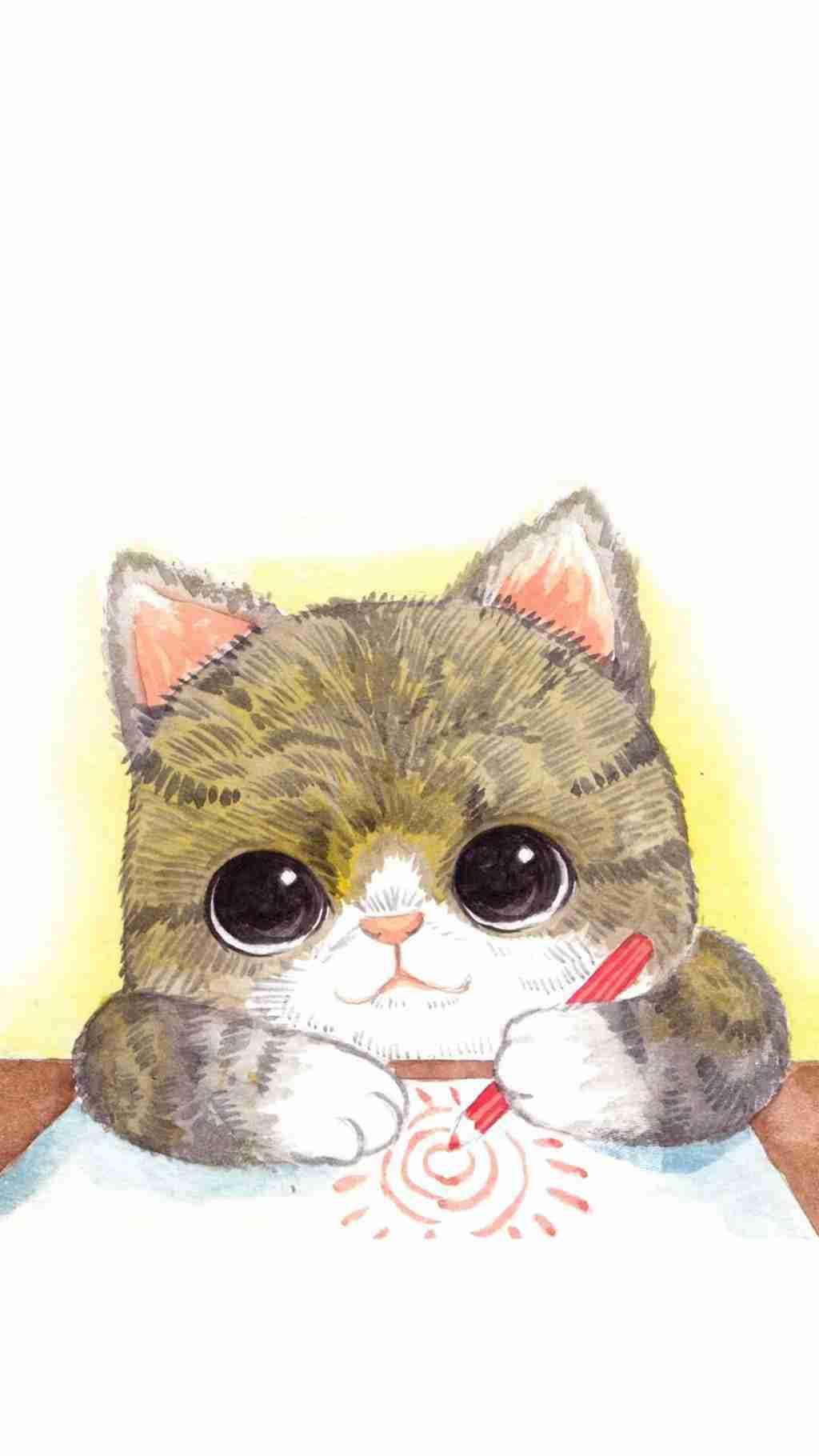 可爱卡通小动物插画手机壁纸_WWW.66152.COM